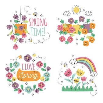 Narysowana kolekcja naklejek kwiatowych