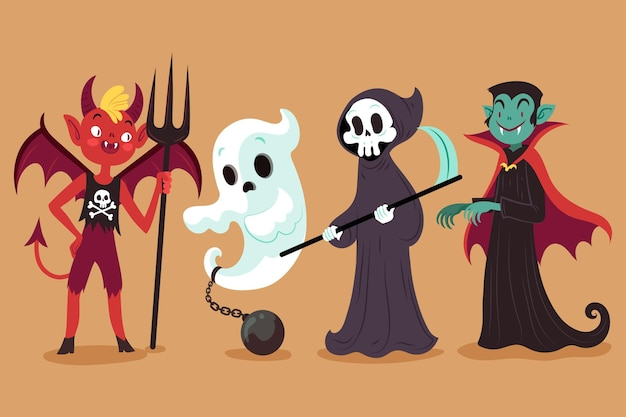 Narysowana kolekcja postaci halloween