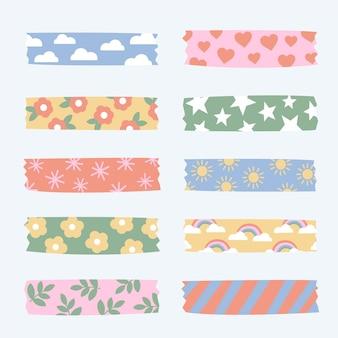 Narysowana kolekcja słodkich taśm washi