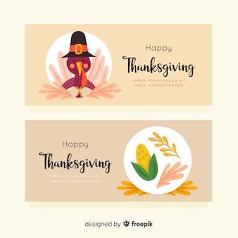 Narysowana koncepcja banerów na święto dziękczynienia