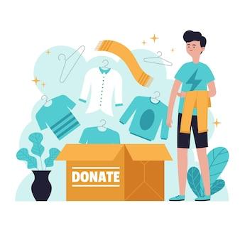 Narysowana koncepcja darowizny odzieży