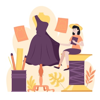 Narysowana koncepcja projektanta mody