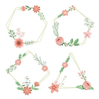 Narysowana piękna kolekcja kwiatowy wieniec