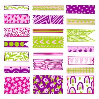 Narysowana piękna kolekcja taśm washi