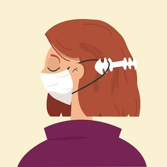 Narysowana płasko kobieta ubrana w regulowany pasek maski na twarz
