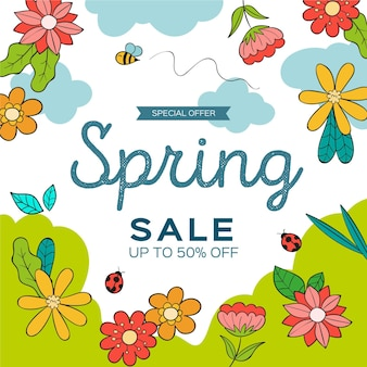 Narysowana promocja wiosennej sprzedaży