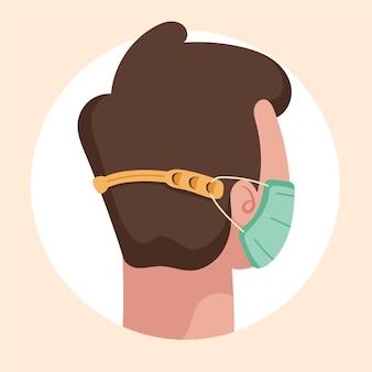 Narysowane ręcznie osoby noszące regulowany pasek maski na twarz