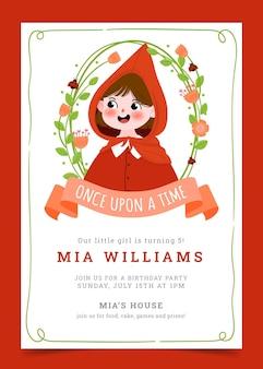 Narysowane zaproszenie na urodziny małego czerwonego kapturka