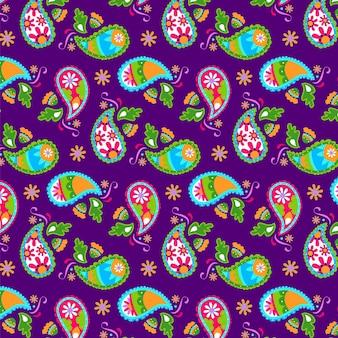 Narysowany kolorowy wzór paisley