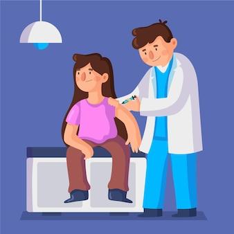 Narysowany lekarz wstrzykuje szczepionkę pacjentowi