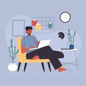 Narysowany mężczyzna pracujący w domu