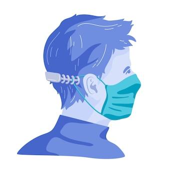 Narysowany mężczyzna w regulowanym pasku maski medycznej