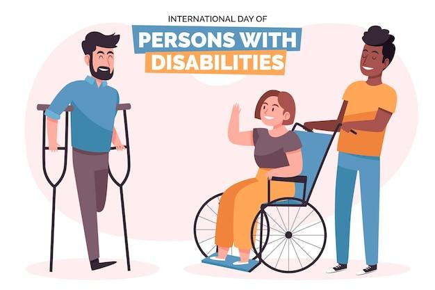 Narysowany międzynarodowy dzień osób niepełnosprawnych