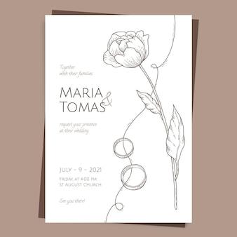 Narysowany minimalistyczny szablon zaproszenia ślubne