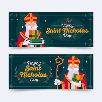 Narysowany pakiet bannerów na dzień świętego mikołaja