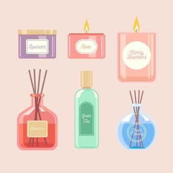 Narysowany pakiet elementów do aromaterapii