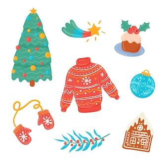 Narysowany pakiet elementów świątecznych