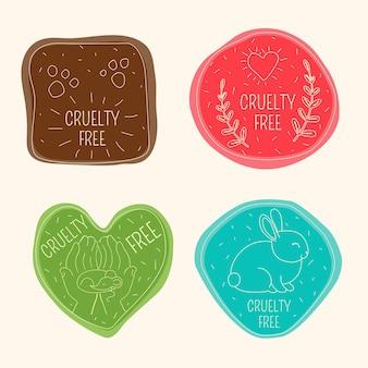 Narysowany pakiet odznak cruelty free