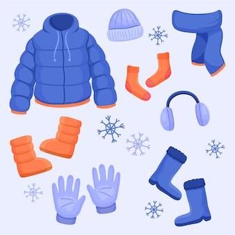 Narysowany pakiet zimowych ubrań