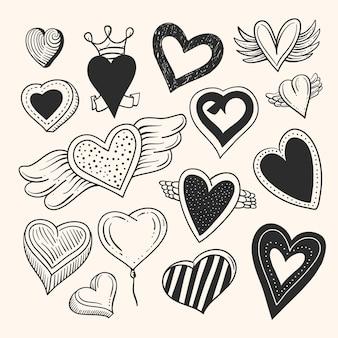 Narysowany projekt kolekcji serca