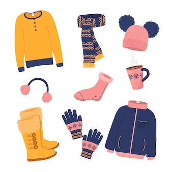 Narysowany, przytulny pakiet zimowych ubrań i niezbędnych akcesoriów