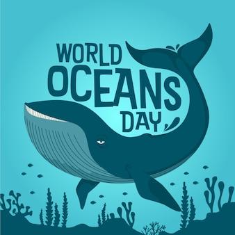 Narysowany światowy dzień oceanów
