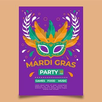 Narysowany szablon ulotki mardi gras