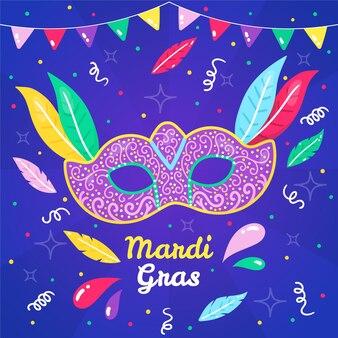Narysowany tekst mardi gras z ilustracją maski