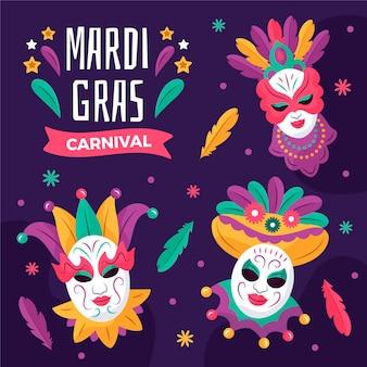 Narysowany tekst mardi gras z ilustrowanymi maskami