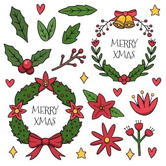 Narysowany zestaw świątecznych kwiatów i wieńców