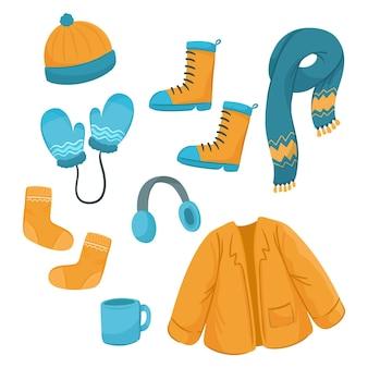 Narysowany zestaw ubrań zimowych