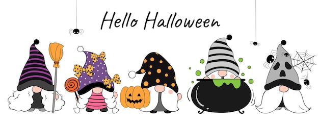 Narysuj baner zabawny gnom na dzień halloween