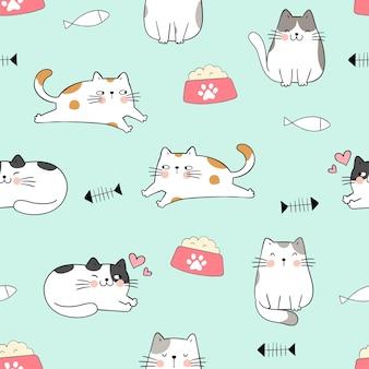 Narysuj bez szwu kota na zielonym pastelowym stylu doodle
