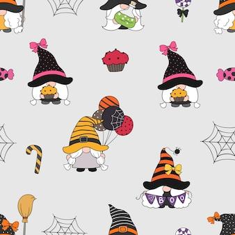 Narysuj bezszwowe tło wzór śliczne gnomy na halloween w stylu doodle