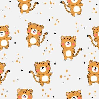 Narysuj bezszwowe tło wzór słodkiego tygrysa w stylu doodle w kolorze białym