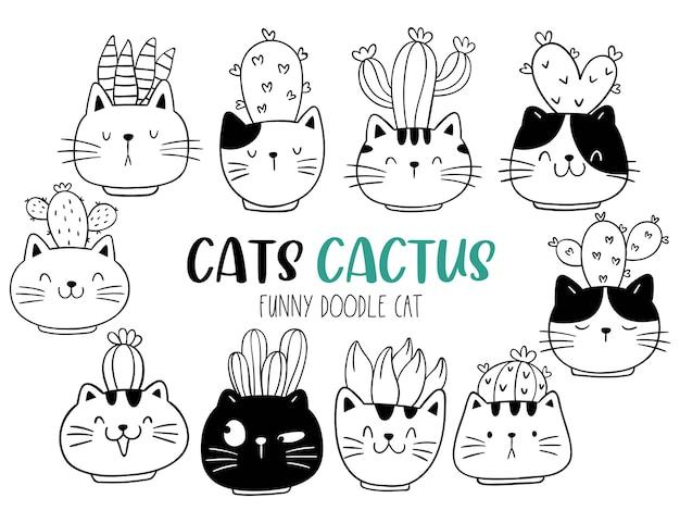Narysuj doodle twarz kota z kaktusem koncepcja roślin i zwierząt