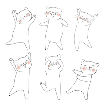 Narysuj doodle zestaw kontur kota na białym tle.