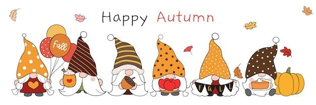 Narysuj gnoma jesienią doodle stylu cartoon
