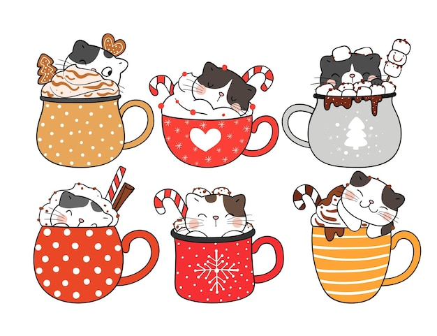 Narysuj kolekcję kota w bożonarodzeniowym napoju na nowy rok