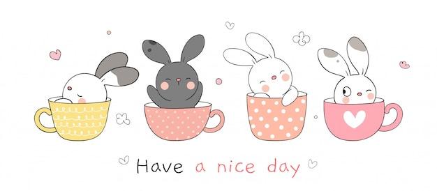 Narysuj kolekcję królika śpiącego w słodkim kubku na wiosnę.
