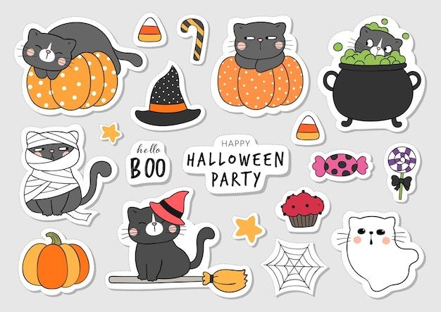 Narysuj kolekcję naklejek słodkiego kota na halloween