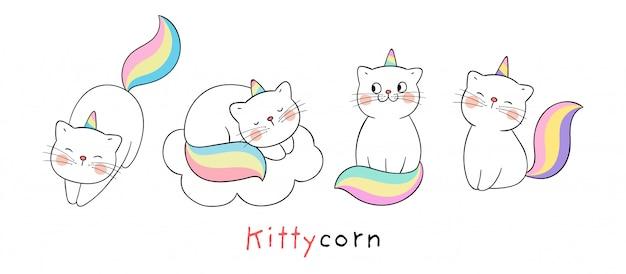 Narysuj kolekcję ślicznego kota jak jednorożca na białym.