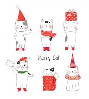 Narysuj kolekcję ślicznego kota na boże narodzenie i nowy rok.