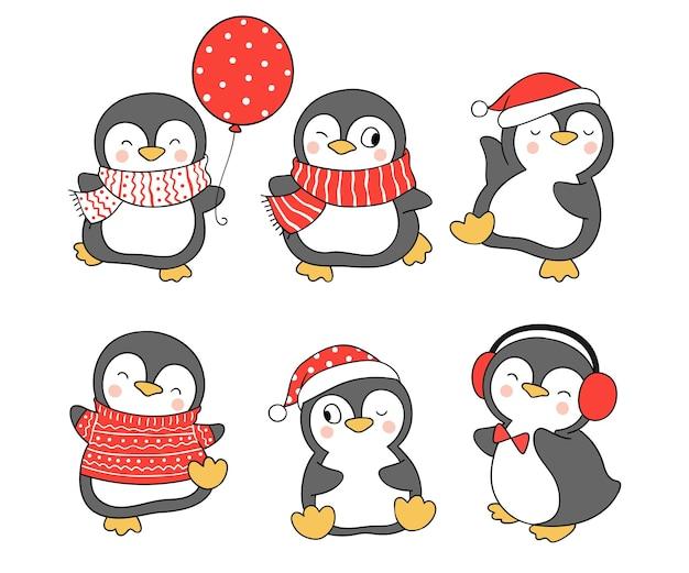 Narysuj kolekcję słodkiego pingwina na boże narodzenie i zimę