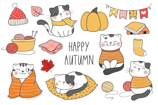 Narysuj kolekcję szczęśliwego kota jesienią doodle stylu cartoon