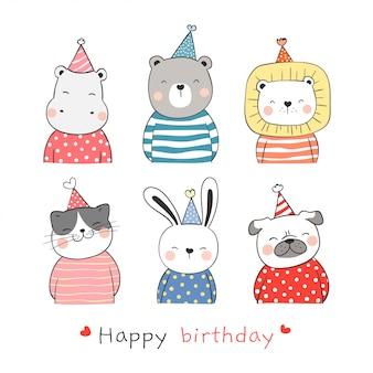 Narysuj kolekcję uroczego zwierzęcia z czapką na urodziny.
