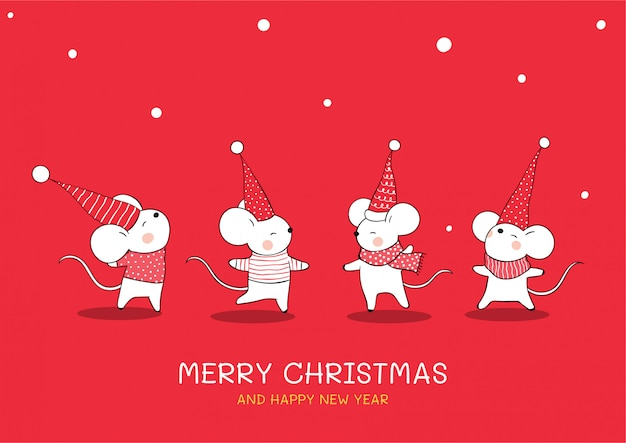 Narysuj kolekcję uroczej myszy na boże narodzenie i nowy rok.