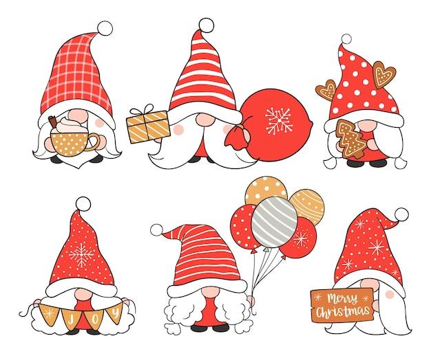 Narysuj kolekcję uroczych gnomów na boże narodzenie i nowy rok