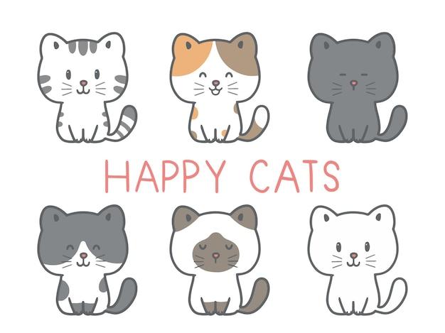 Narysuj kolekcję uroczych kotów