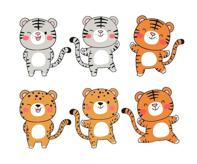 Narysuj kolekcję zabawnego tygrysa